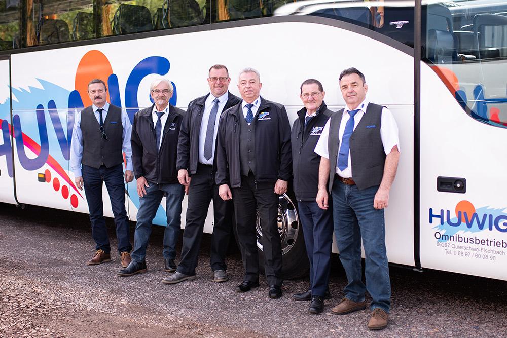 Das Fahrerteam der Huwig Reisen GmbH
